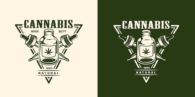 Logotipo di cannabis monocromatico vintage