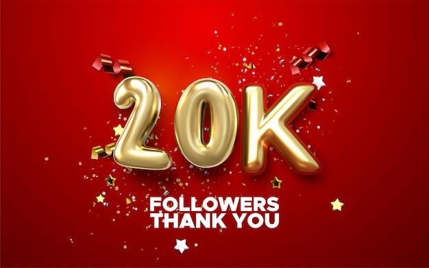 Logotipo di celebrazione di 20.000, 20.000 follower. logo dell'anniversario con colore bianco chiaro dorato e scintilla isolato su sfondo nero, design per la celebrazione