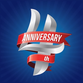 Logotipo di celebrazione di anniversario con nastri rossi