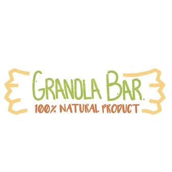 Logotipo di prodotto naturale con barrette di cereali 100 percento.