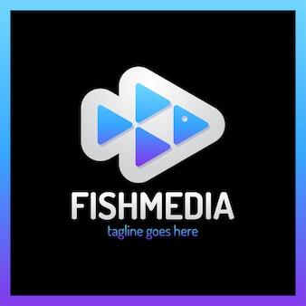 Logotipo di quattro pesci pesce media.