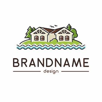 Logotipo due case sulla collina e sul fiume