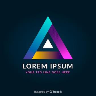 Logotipo geometrico colorato incandescente gradiente
