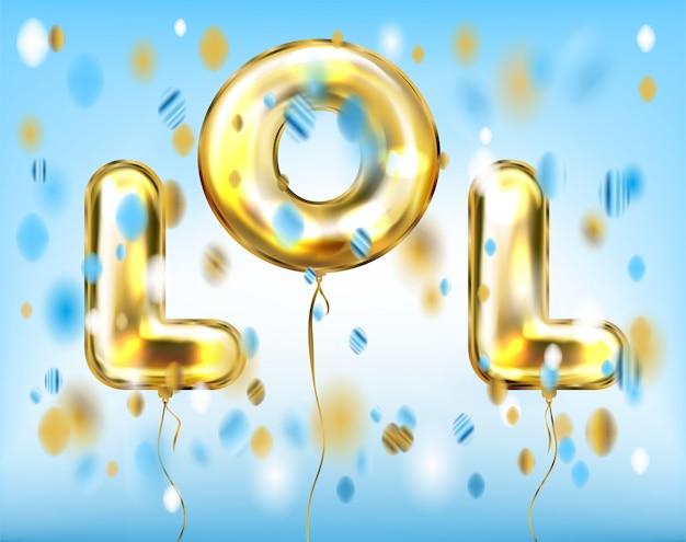 Lol lettering di palloncini d'oro stagnola