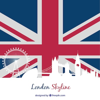 London flag skyline silhouette
