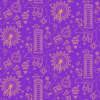 London seamless pattern con london eye, phone box e elementi di viaggio