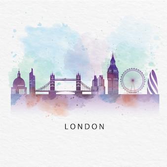 Londra con monumenti famosi in tutto il mondo in stile acquerello