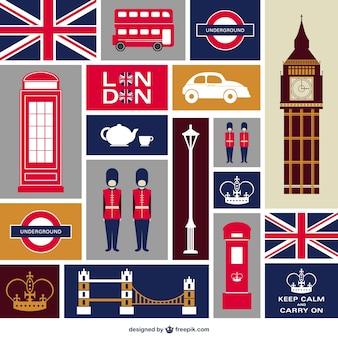 Londra icone piane impostate