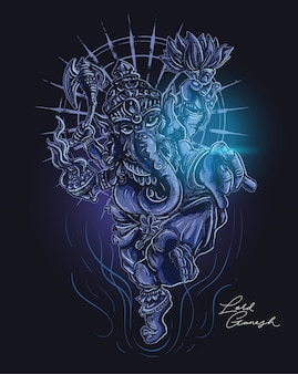Lord of ganesha dark illustration