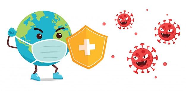 Lotta della mascotte dei cartoni animati di terra con virus corona