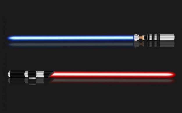 Lotta leggera della spada, rosso e blu isolati sul nero.