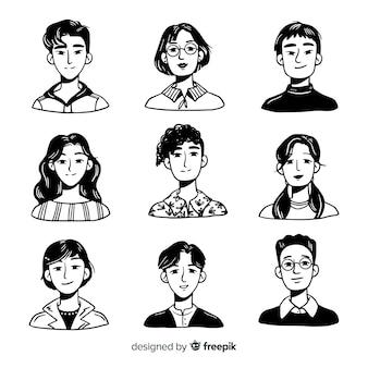 Lotto di avatar di persone disegnate a mano