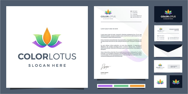 Lotus logo design colorato con design di cancelleria
