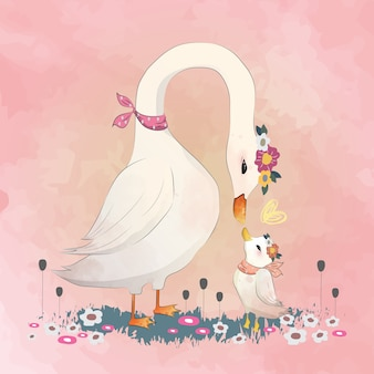 Love mommy goose to her child