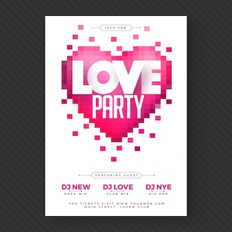 Love party banner o flyer.