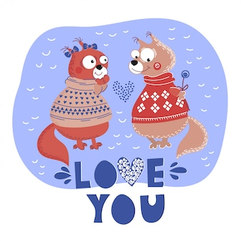 Love squirrel valentine cartoon animal set