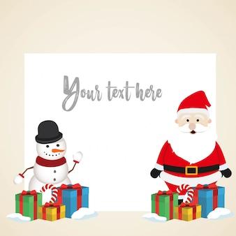 Lovely christmas pupazzo di neve e santa clause sfondo