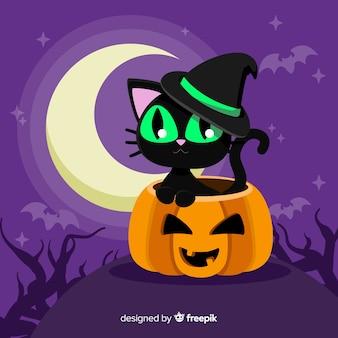 Lovely gatto halloween con design piatto