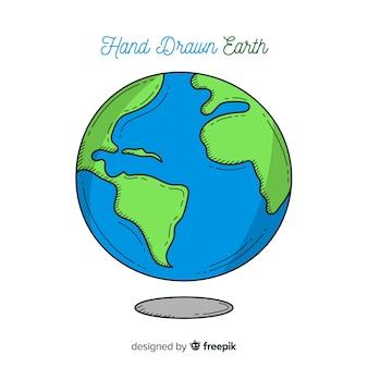 Lovely pianeta terra con stile disegnato a mano