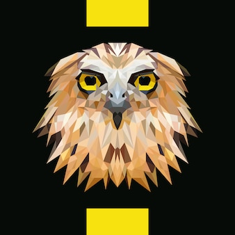 Low polygonal owl head vector