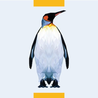 Low polygonal pinguin head vector