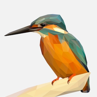 Lowpoly art of kingfisher