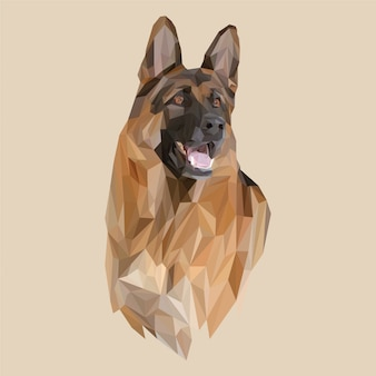 Lowpoly vector of german shepherd dog