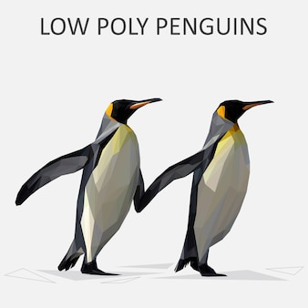 Lowpoly vettore di pinguini