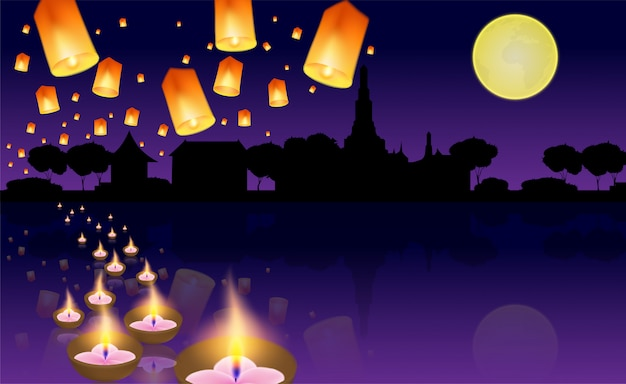 Loy kratong festival thailandese