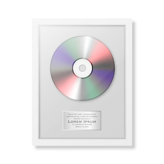 Lp realistico ed etichetta in primo piano nero lucido dell'icona della struttura isolato. premio disco singolo album. modello di progettazione.
