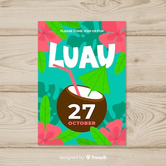 Luau party drink poster template