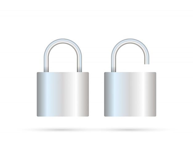 Lucchetto bloccato e sbloccato realistico. concetto di sicurezza. blocco metallico per sicurezza e privacy