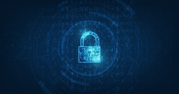 Lucchetto con icona keyhole nella sicurezza dei dati personali illustra i dati informatici o l'idea di riservatezza delle informazioni. colore blu astratto ciao velocità tecnologia internet.