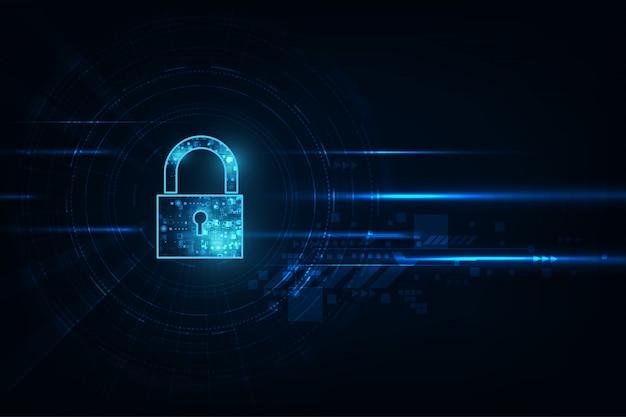 Lucchetto con l'icona del buco della serratura. protezione dei dati personali illustra i dati informatici o l'idea di riservatezza delle informazioni. colore blu astratto ciao velocità tecnologia internet.
