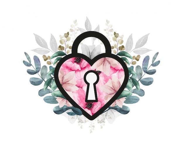Lucchetto d'amore. disegno floreale per san valentino. cuore con fiori e foglie.