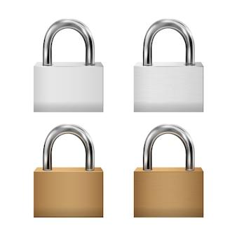 Lucchetto icon set, lucchetti chiusi in metallo oro, argento, stile realistico 3d