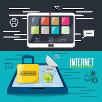 Lucchetto, satellite, mondo e smartphone connessi a internet