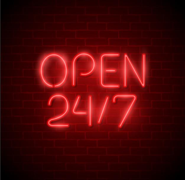 Luce al neon aperta 24 ore su 24, 7 giorni su 7, su muro di mattoni. insegna al neon del night club / bar di 24 ore. illustrazione.
