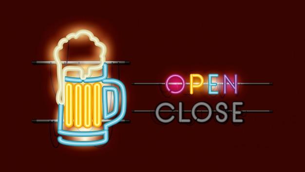 Luce al neon di barattolo di birra