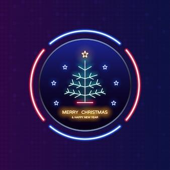 Luce al neon di buon natale e felice anno nuovo nell'etichetta del cerchio