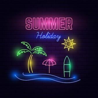 Luce al neon di vacanze estive