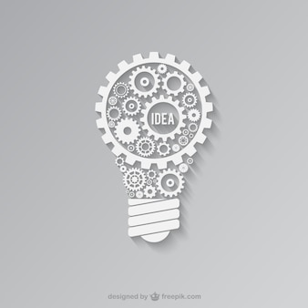 Luce bianca lampadina fatta di ingranaggi