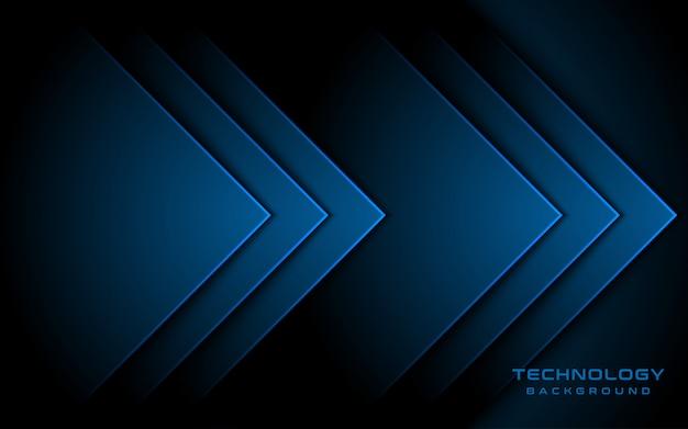 Luce blu 3d direzione della freccia sullo sfondo