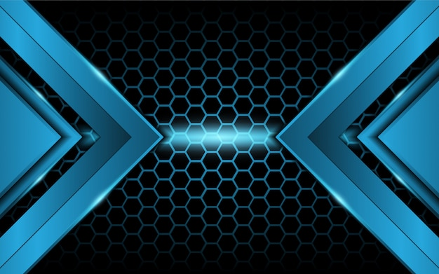 Luce blu astratta su sfondo esagonale