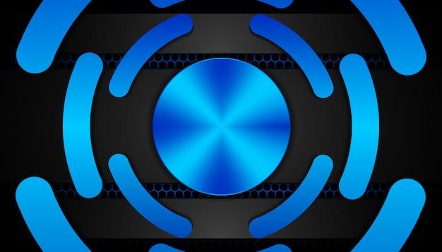 Luce blu astratta su sfondo scuro esagono