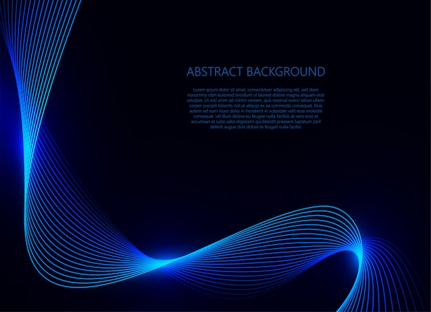 Luce blu dell'onda su fondo blu scuro