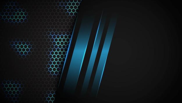 Luce blu di esagono astratto su fondo scuro.