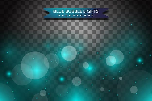 Luce blu e bolle su sfondo trasparente