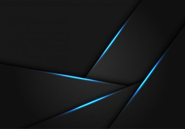 Luce blu su sfondo futuristico poligono metallico grigio scuro.