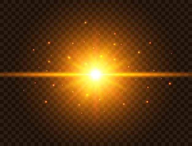 Luce futuristica su sfondo trasparente. stella d'oro scoppiata di travi e scintillii. sun flash con raggi e riflettori. effetto luminoso. chiarore dell'obiettivo colorato. stella di esplosione.